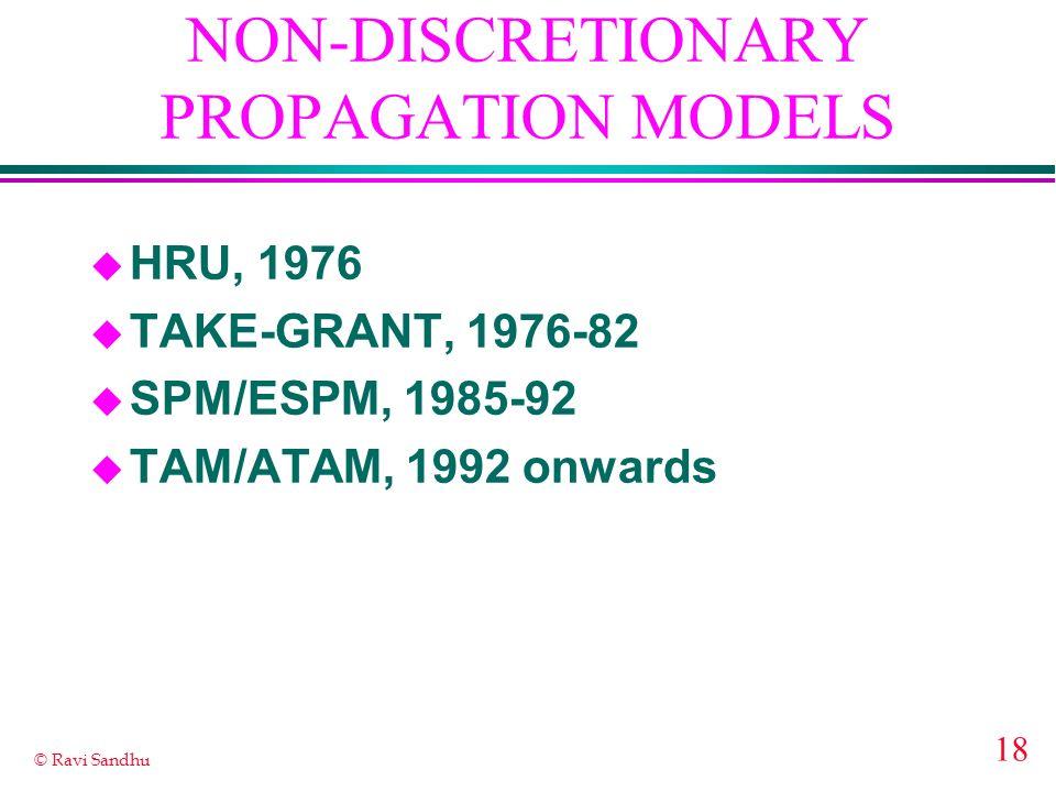 18 © Ravi Sandhu u HRU, 1976 u TAKE-GRANT, 1976-82 u SPM/ESPM, 1985-92 u TAM/ATAM, 1992 onwards NON-DISCRETIONARY PROPAGATION MODELS