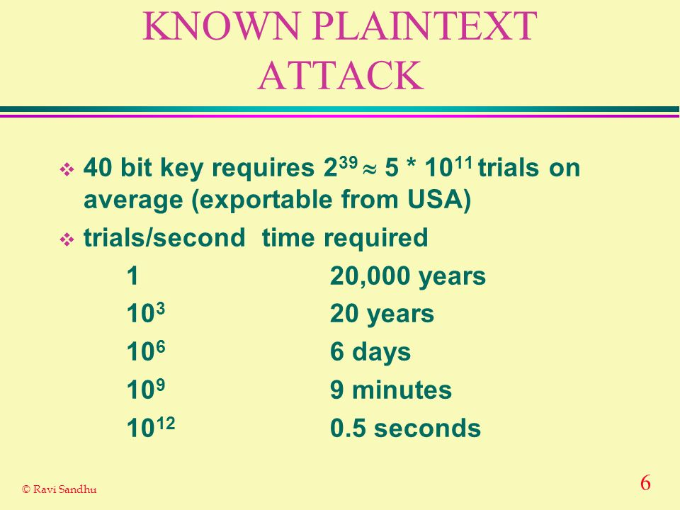 6 © Ravi Sandhu KNOWN PLAINTEXT ATTACK 40 bit key requires 2 39 5 * 10 11 trials on average (exportable from USA) trials/secondtime required 120,000 y