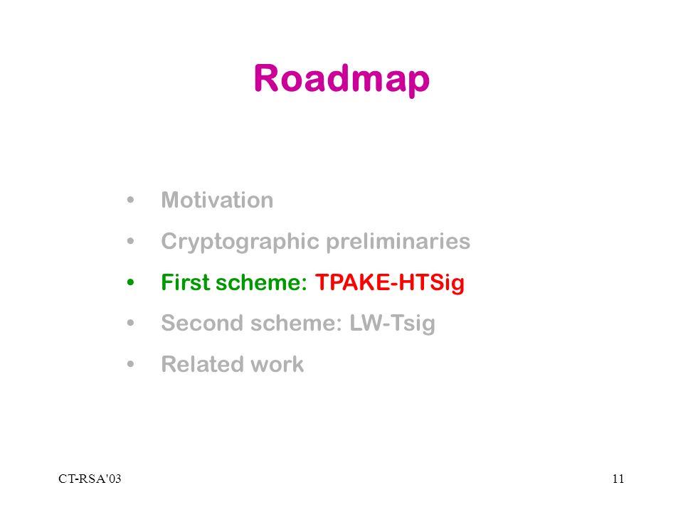 CT-RSA 0311 Roadmap Motivation Cryptographic preliminaries First scheme: TPAKE-HTSig Second scheme: LW-Tsig Related work