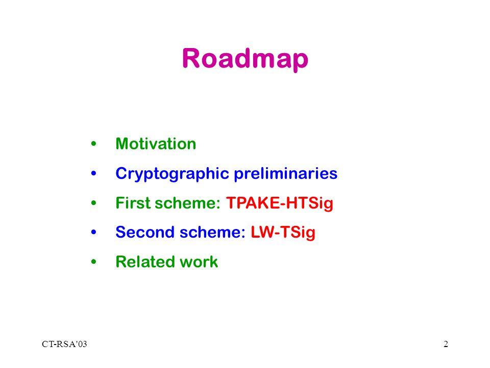 CT-RSA 032 Roadmap Motivation Cryptographic preliminaries First scheme: TPAKE-HTSig Second scheme: LW-TSig Related work