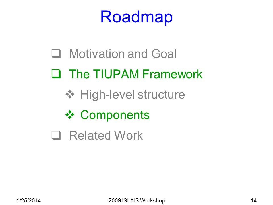 1/25/20142009 ISI-AIS Workshop14 Roadmap Motivation and Goal The TIUPAM Framework High-level structure Components Related Work