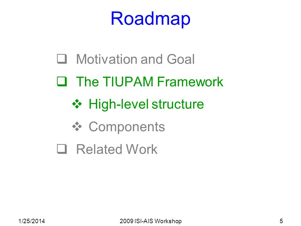 1/25/20142009 ISI-AIS Workshop5 Roadmap Motivation and Goal The TIUPAM Framework High-level structure Components Related Work