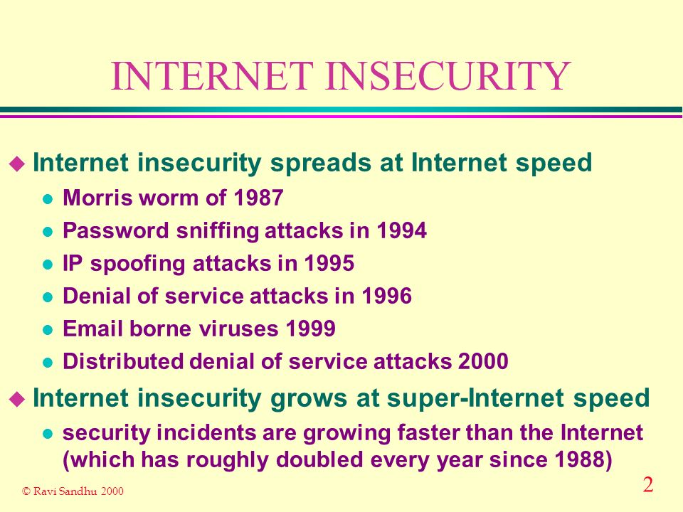 3 © Ravi Sandhu 2000 INTERNET INSECURITY u Its only going to get worse