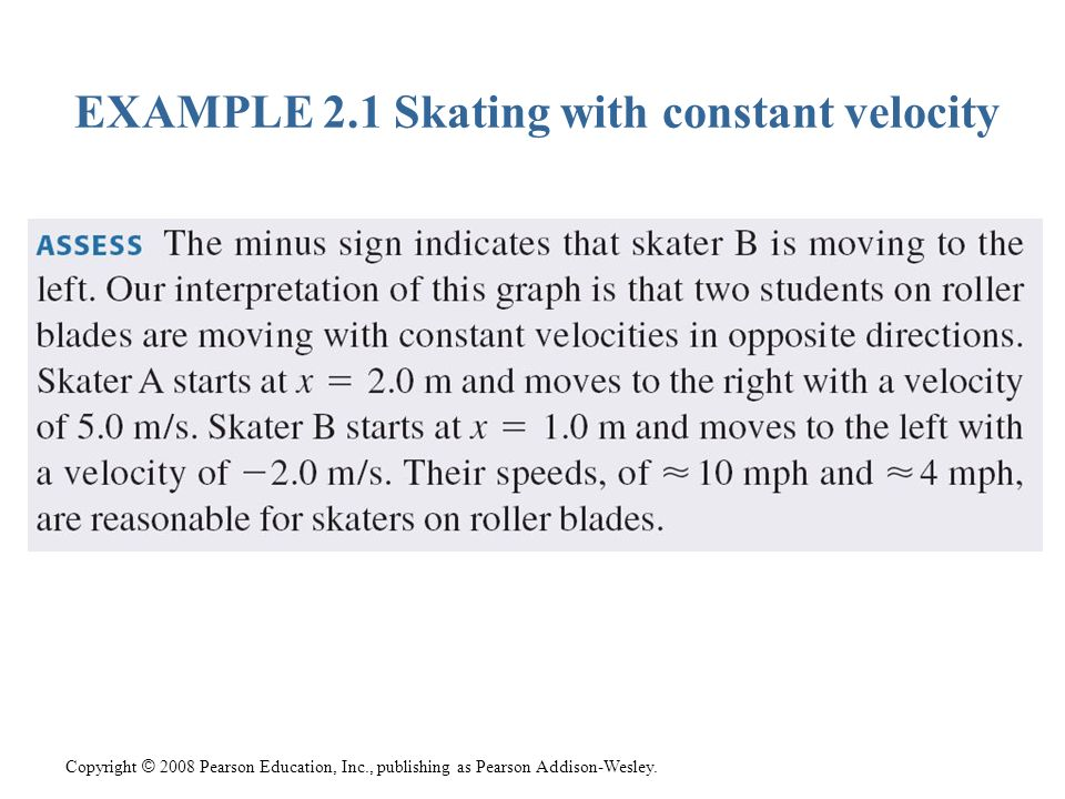 Copyright © 2008 Pearson Education, Inc., publishing as Pearson Addison-Wesley. EXAMPLE 2.1 Skating with constant velocity