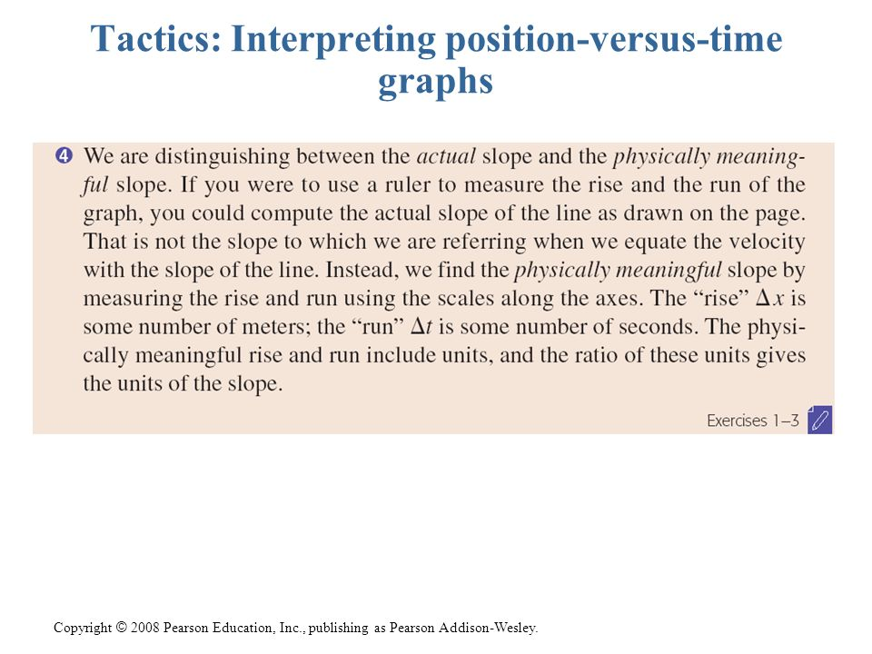 Copyright © 2008 Pearson Education, Inc., publishing as Pearson Addison-Wesley. Tactics: Interpreting position-versus-time graphs