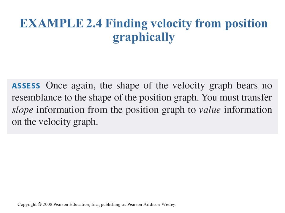Copyright © 2008 Pearson Education, Inc., publishing as Pearson Addison-Wesley. EXAMPLE 2.4 Finding velocity from position graphically