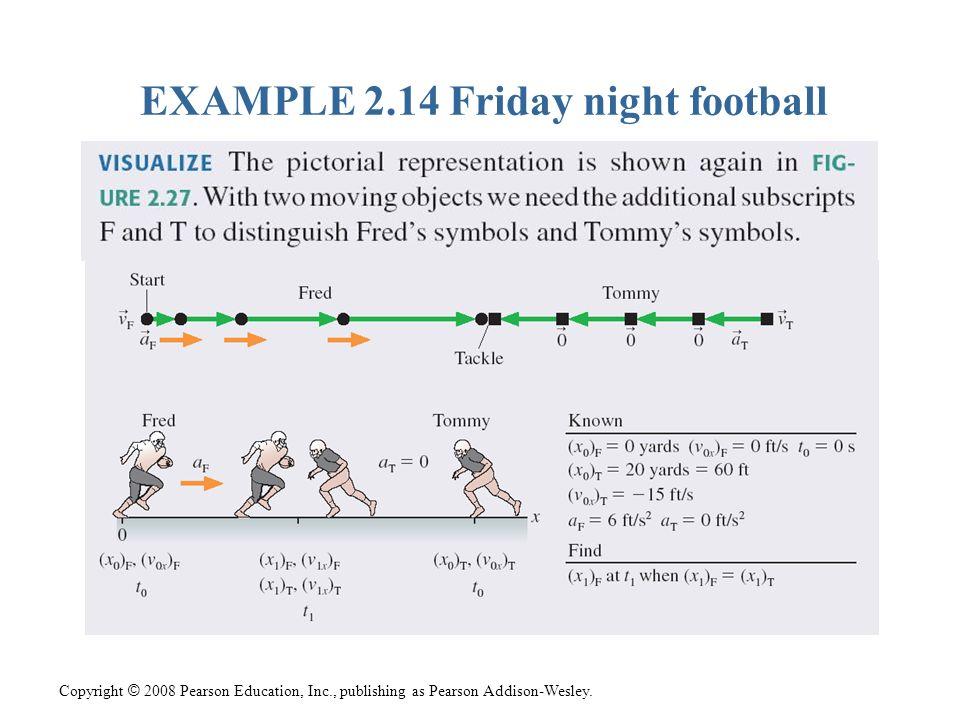 Copyright © 2008 Pearson Education, Inc., publishing as Pearson Addison-Wesley. EXAMPLE 2.14 Friday night football