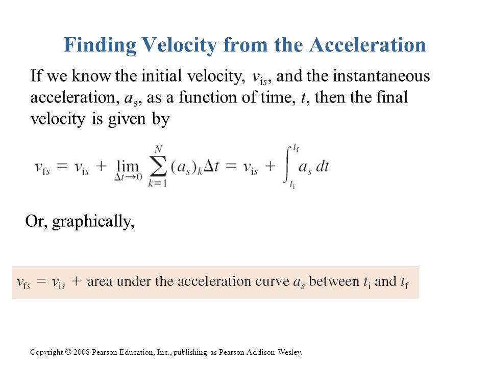 Copyright © 2008 Pearson Education, Inc., publishing as Pearson Addison-Wesley. Finding Velocity from the Acceleration If we know the initial velocity