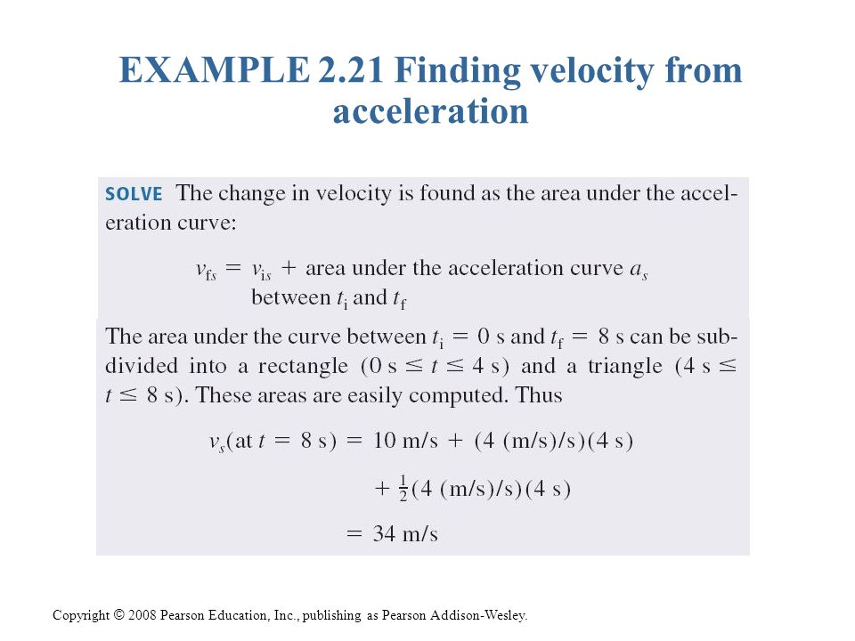 Copyright © 2008 Pearson Education, Inc., publishing as Pearson Addison-Wesley. EXAMPLE 2.21 Finding velocity from acceleration