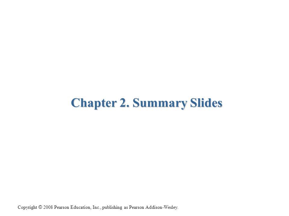 Copyright © 2008 Pearson Education, Inc., publishing as Pearson Addison-Wesley. Chapter 2. Summary Slides