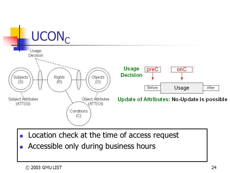 © 2003 GMU LIST24 UCON C Location check at the time of access request Accessible only during business hours