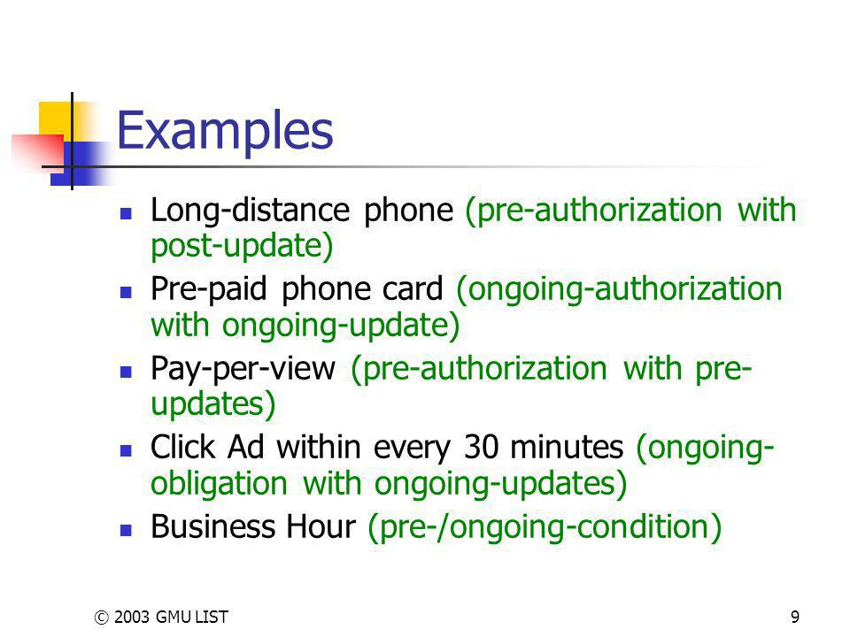 © 2003 GMU LIST9 Examples Long-distance phone (pre-authorization with post-update) Pre-paid phone card (ongoing-authorization with ongoing-update) Pay-per-view (pre-authorization with pre- updates) Click Ad within every 30 minutes (ongoing- obligation with ongoing-updates) Business Hour (pre-/ongoing-condition)