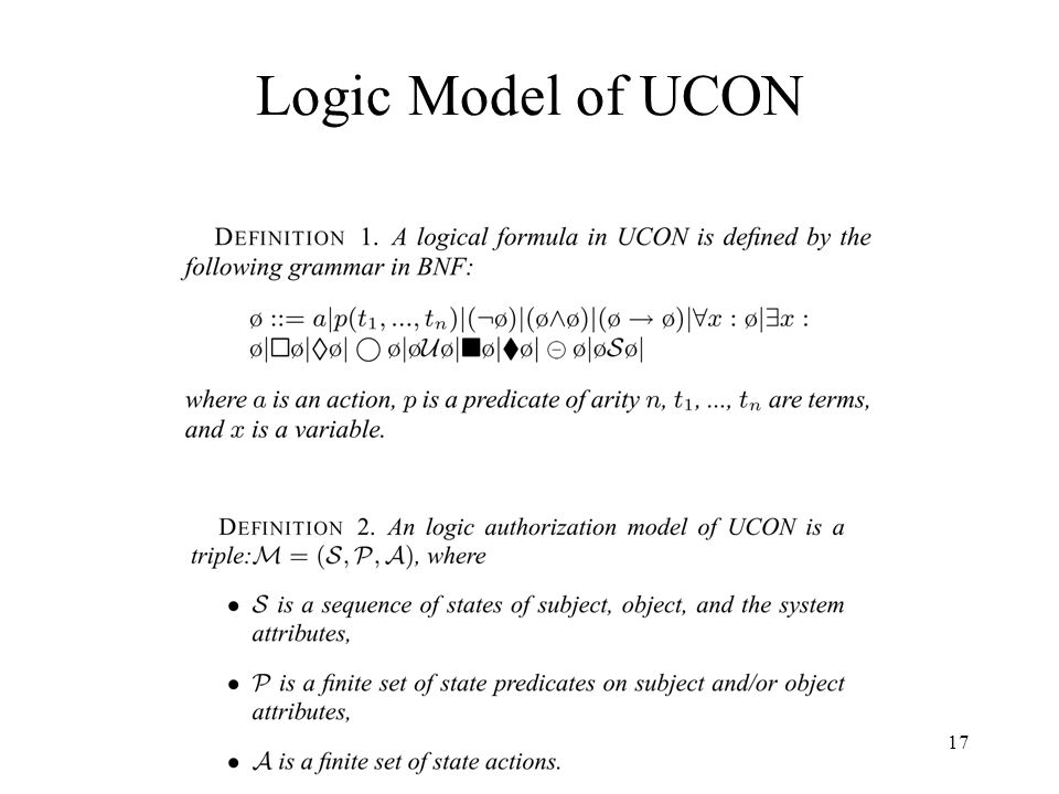 17 Logic Model of UCON
