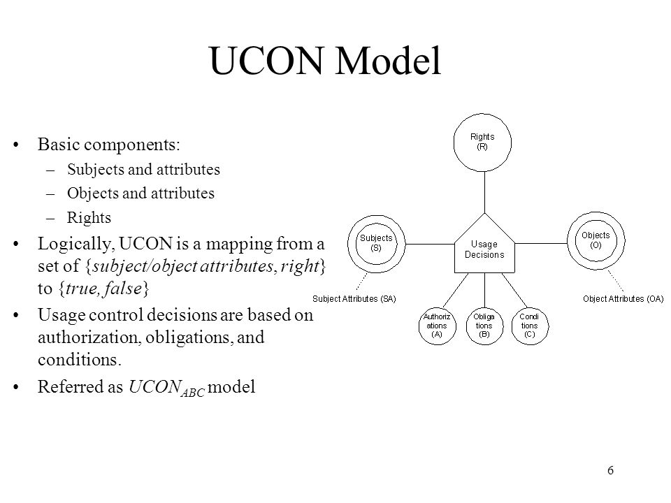 6 UCON Model Basic components: –Subjects and attributes –Objects and attributes –Rights Logically, UCON is a mapping from a set of {subject/object attributes, right} to {true, false} Usage control decisions are based on authorization, obligations, and conditions.
