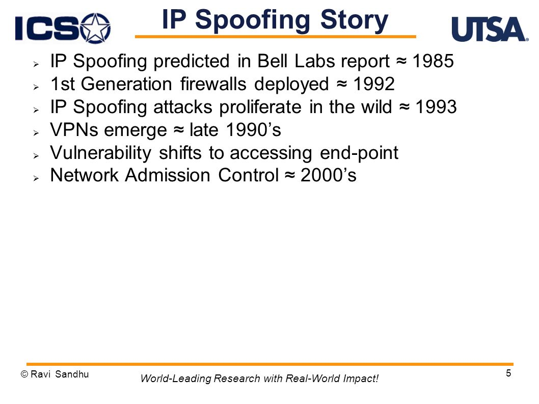 IP Spoofing predicted in Bell Labs report st Generation firewalls deployed 1992 IP Spoofing attacks proliferate in the wild 1993 VPNs emerge late 1990s Vulnerability shifts to accessing end-point Network Admission Control 2000s © Ravi Sandhu 5 World-Leading Research with Real-World Impact.