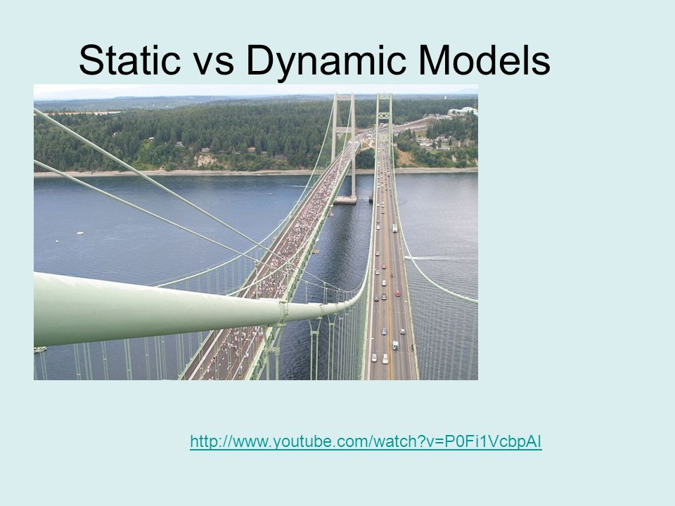 Static vs Dynamic Models http://www.youtube.com/watch?v=P0Fi1VcbpAI