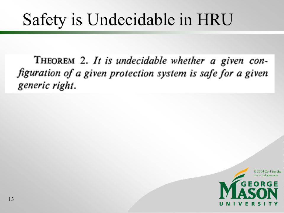 © 2004 Ravi Sandhu www.list.gmu.edu 13 Safety is Undecidable in HRU