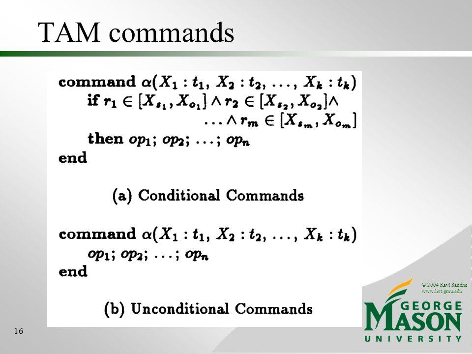 © 2004 Ravi Sandhu www.list.gmu.edu 16 TAM commands