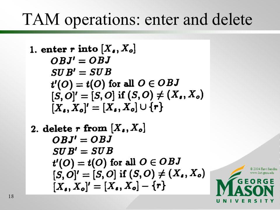 © 2004 Ravi Sandhu www.list.gmu.edu 18 TAM operations: enter and delete
