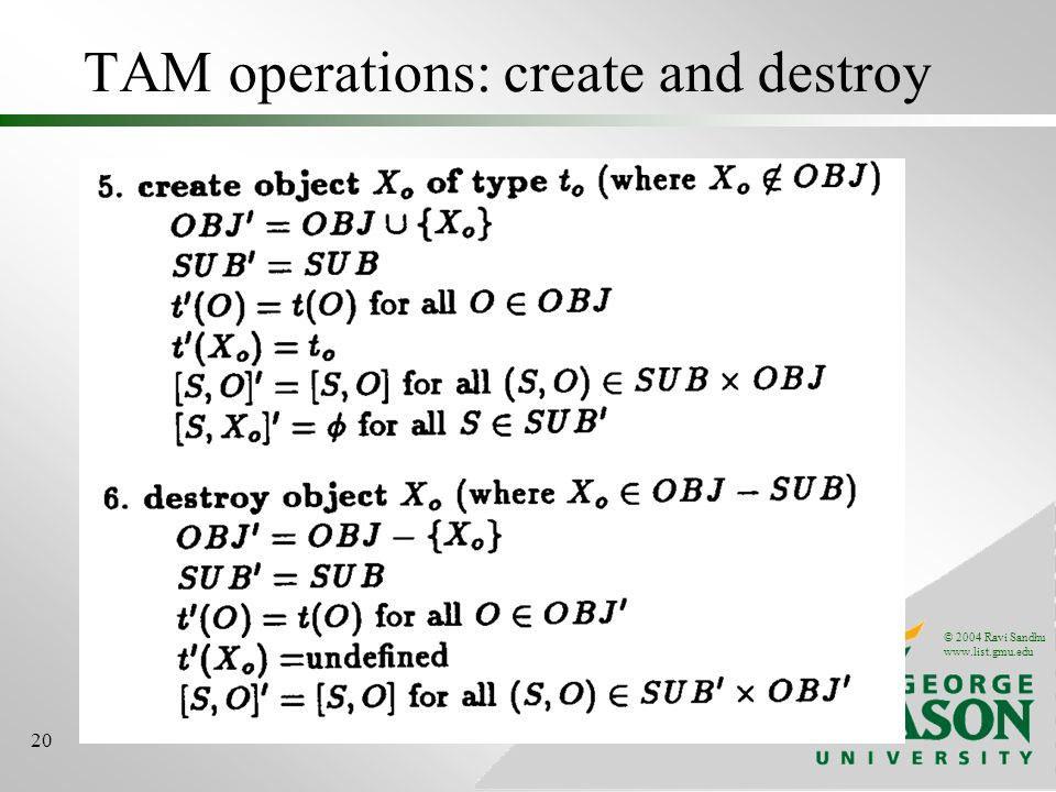 © 2004 Ravi Sandhu www.list.gmu.edu 20 TAM operations: create and destroy