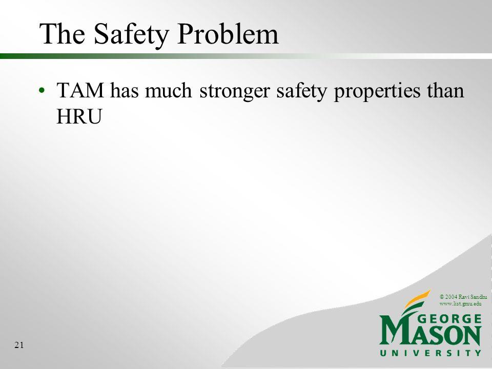 © 2004 Ravi Sandhu www.list.gmu.edu 21 The Safety Problem TAM has much stronger safety properties than HRU