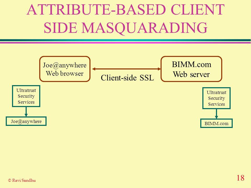18 © Ravi Sandhu ATTRIBUTE-BASED CLIENT SIDE MASQUARADING Joe@anywhere Web browser BIMM.com Web server Client-side SSL Ultratrust Security Services BI