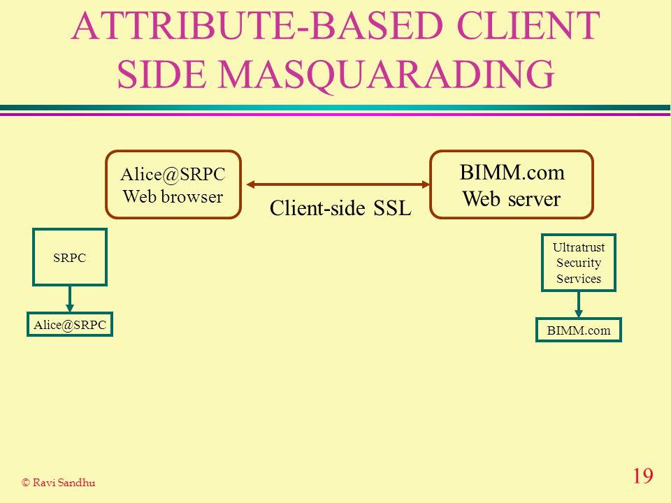 19 © Ravi Sandhu ATTRIBUTE-BASED CLIENT SIDE MASQUARADING Alice@SRPC Web browser BIMM.com Web server Client-side SSL Ultratrust Security Services BIMM