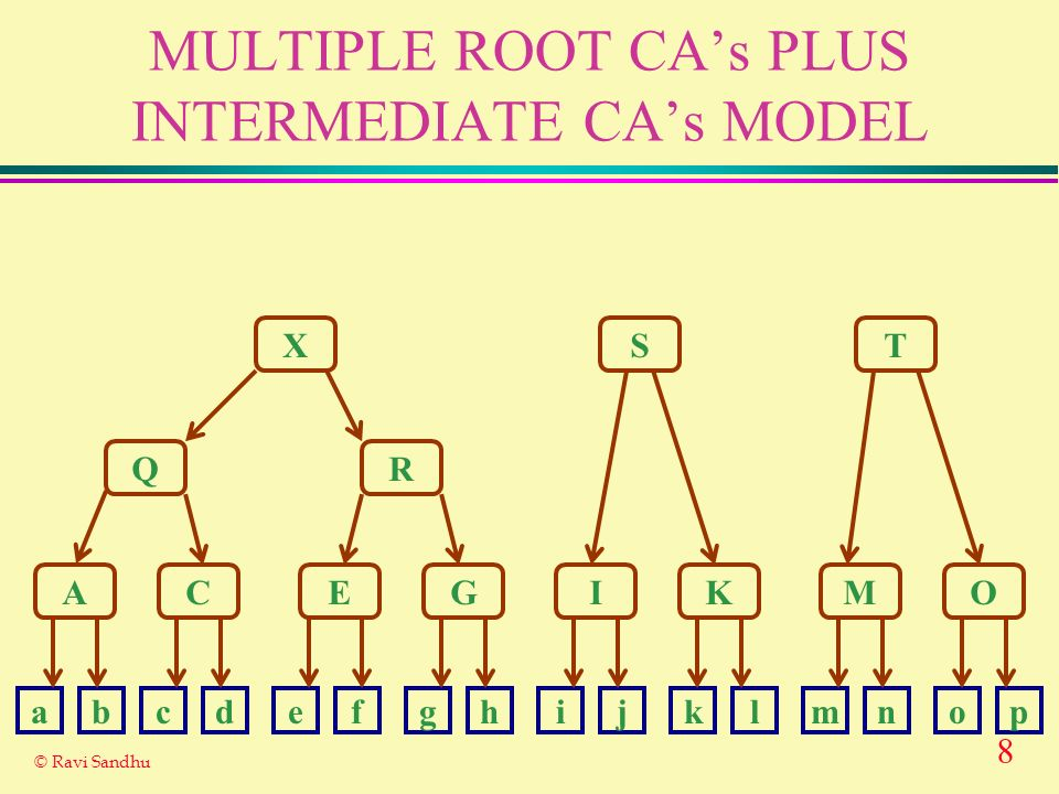 8 © Ravi Sandhu MULTIPLE ROOT CAs PLUS INTERMEDIATE CAs MODEL X Q A R ST CEGIKMO abcdefghijklmnop