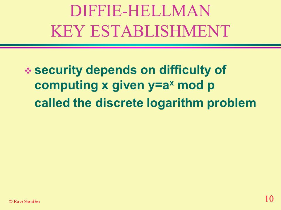 10 © Ravi Sandhu DIFFIE-HELLMAN KEY ESTABLISHMENT security depends on difficulty of computing x given y=a x mod p called the discrete logarithm proble