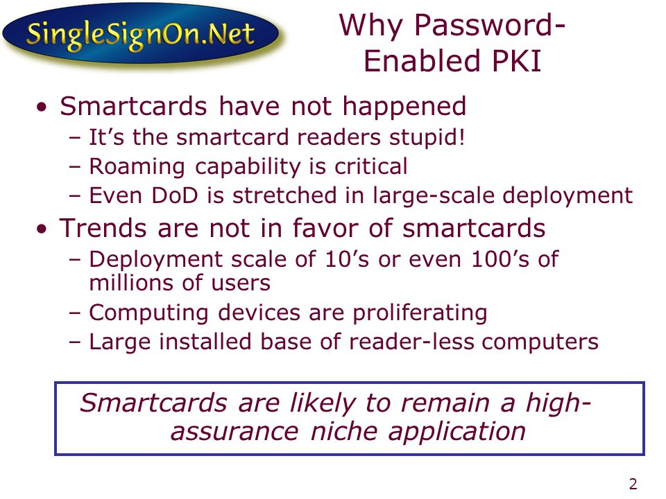 2 Why Password- Enabled PKI Smartcards have not happened –Its the smartcard readers stupid.