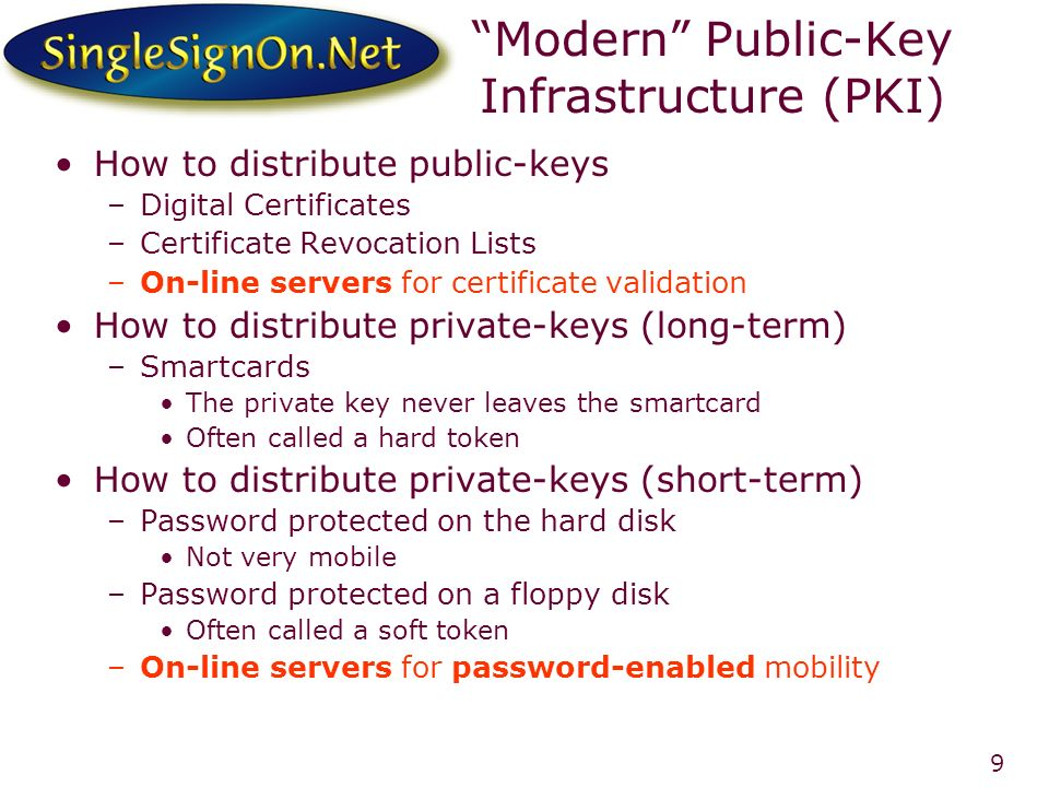 9 Modern Public-Key Infrastructure (PKI) How to distribute public-keys –Digital Certificates –Certificate Revocation Lists –On-line servers for certificate validation How to distribute private-keys (long-term) –Smartcards The private key never leaves the smartcard Often called a hard token How to distribute private-keys (short-term) –Password protected on the hard disk Not very mobile –Password protected on a floppy disk Often called a soft token –On-line servers for password-enabled mobility