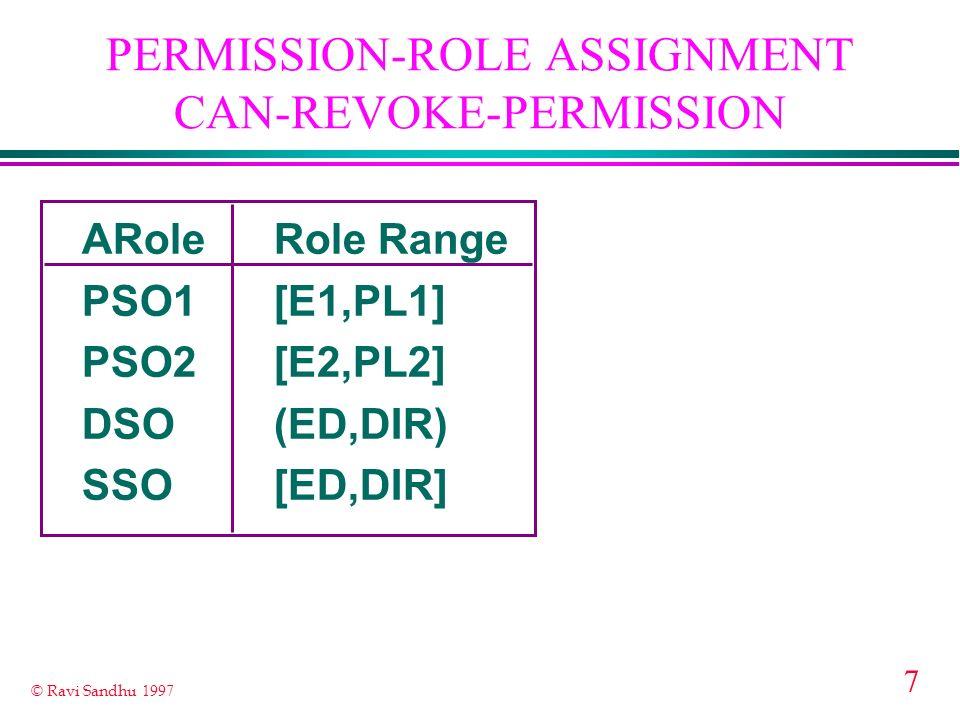 7 © Ravi Sandhu 1997 PERMISSION-ROLE ASSIGNMENT CAN-REVOKE-PERMISSION ARoleRole Range PSO1[E1,PL1] PSO2[E2,PL2] DSO(ED,DIR) SSO[ED,DIR]
