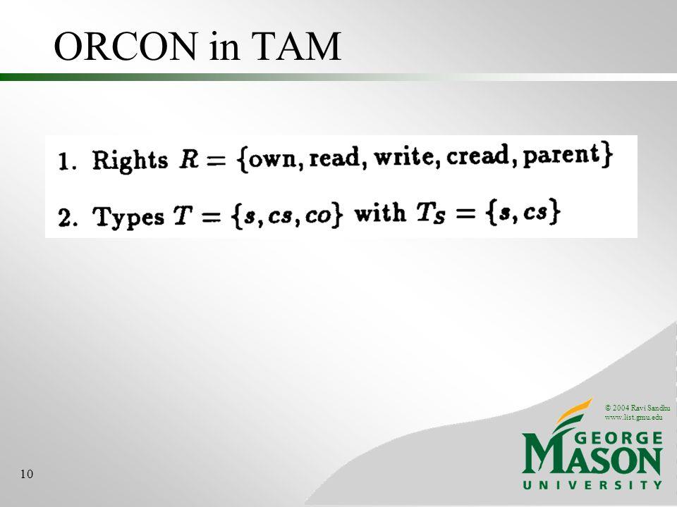 © 2004 Ravi Sandhu www.list.gmu.edu 10 ORCON in TAM