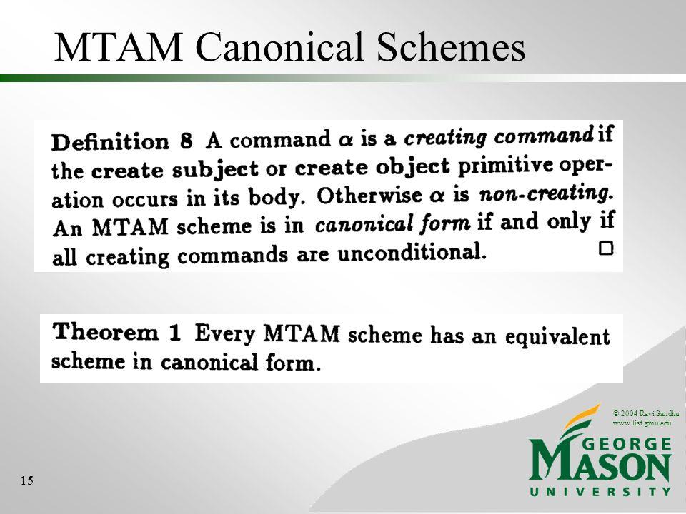 © 2004 Ravi Sandhu www.list.gmu.edu 15 MTAM Canonical Schemes