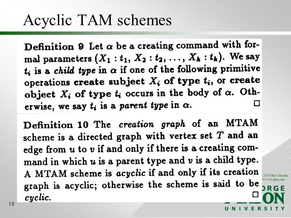 © 2004 Ravi Sandhu www.list.gmu.edu 18 Acyclic TAM schemes