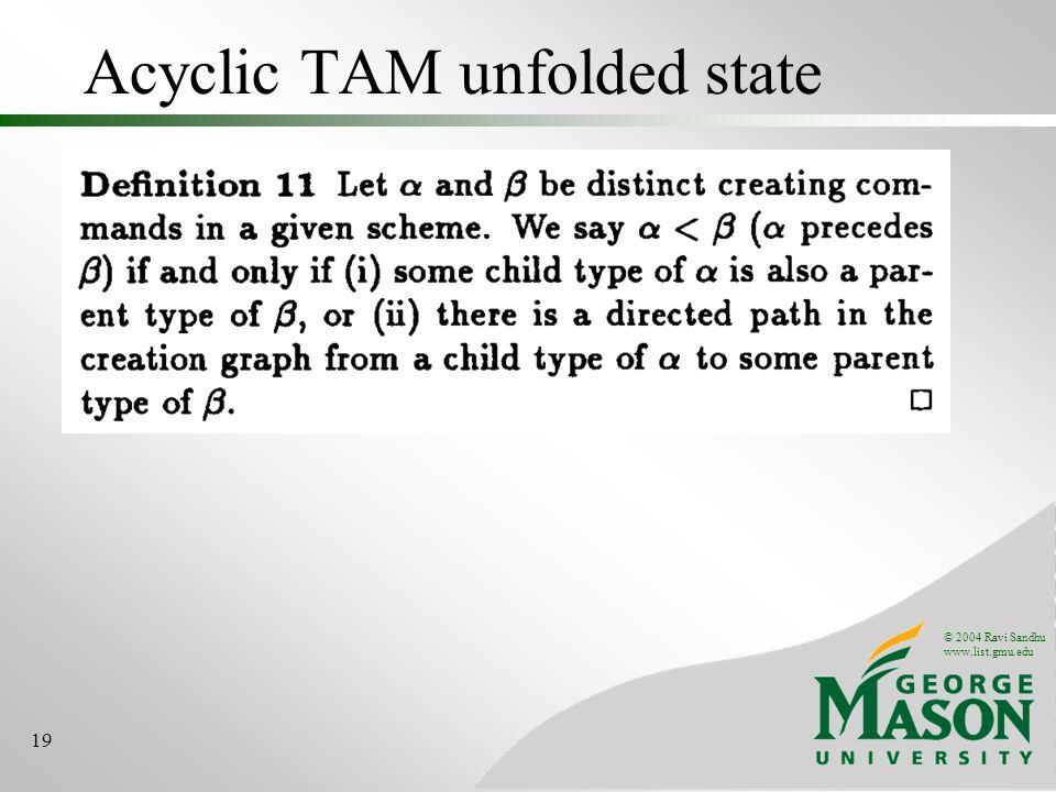 © 2004 Ravi Sandhu www.list.gmu.edu 19 Acyclic TAM unfolded state
