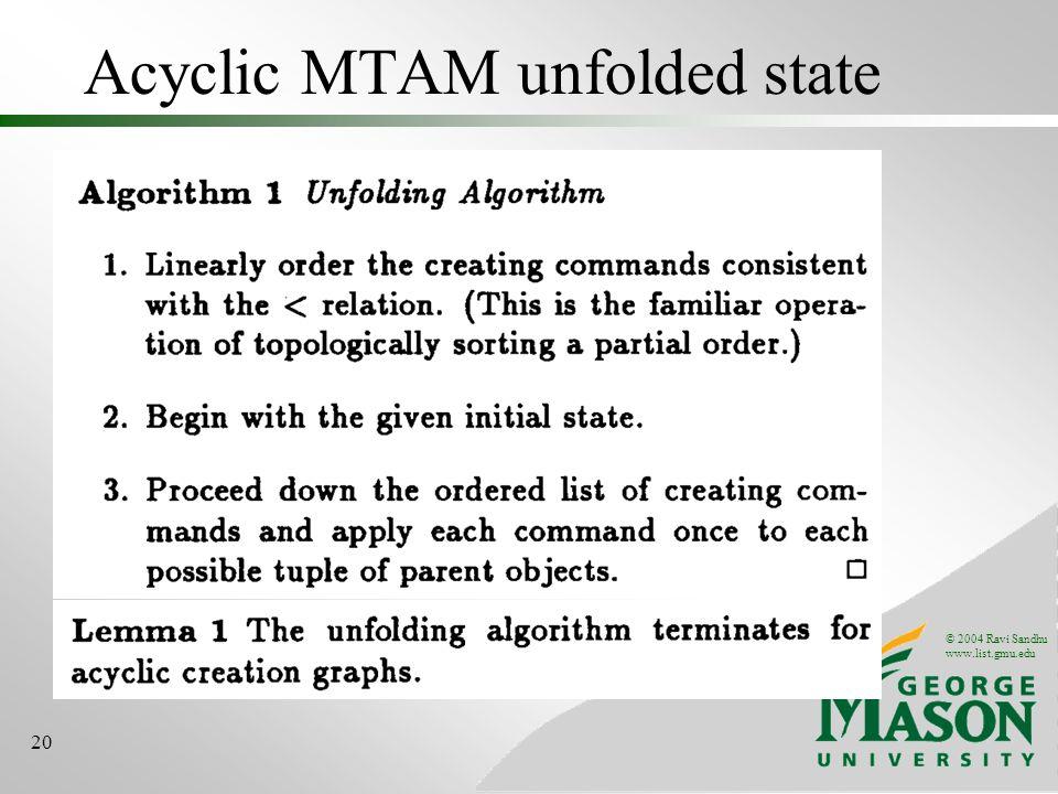 © 2004 Ravi Sandhu www.list.gmu.edu 20 Acyclic MTAM unfolded state