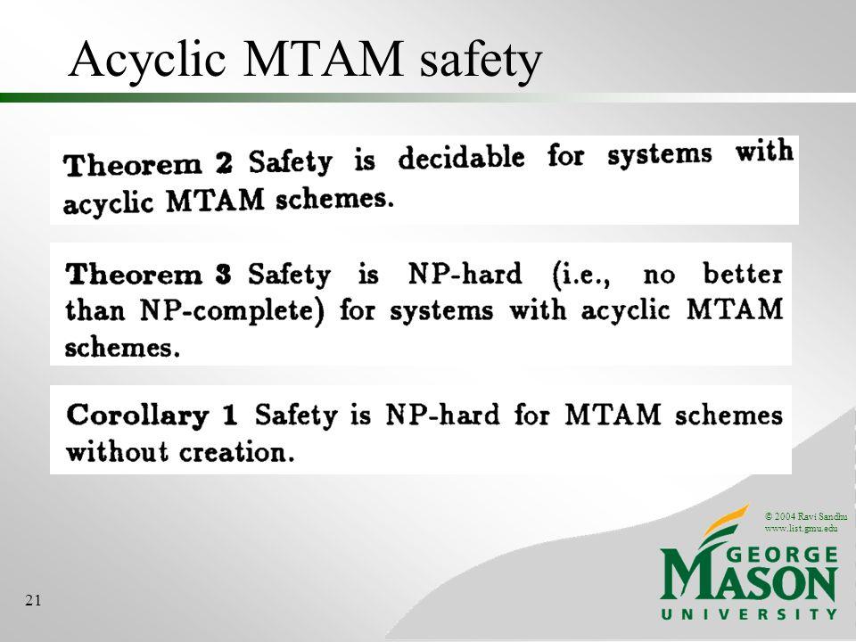© 2004 Ravi Sandhu www.list.gmu.edu 21 Acyclic MTAM safety