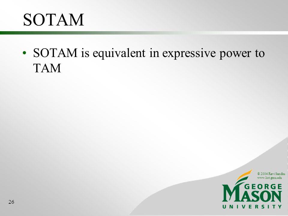 © 2004 Ravi Sandhu www.list.gmu.edu 26 SOTAM SOTAM is equivalent in expressive power to TAM