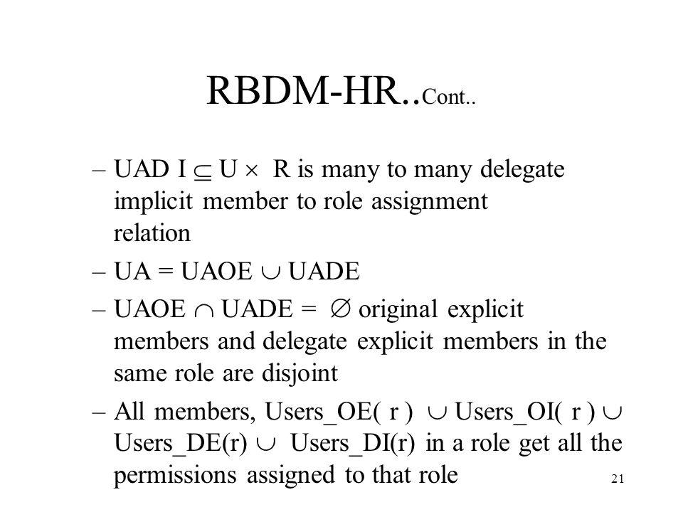 21 RBDM-HR.. Cont..