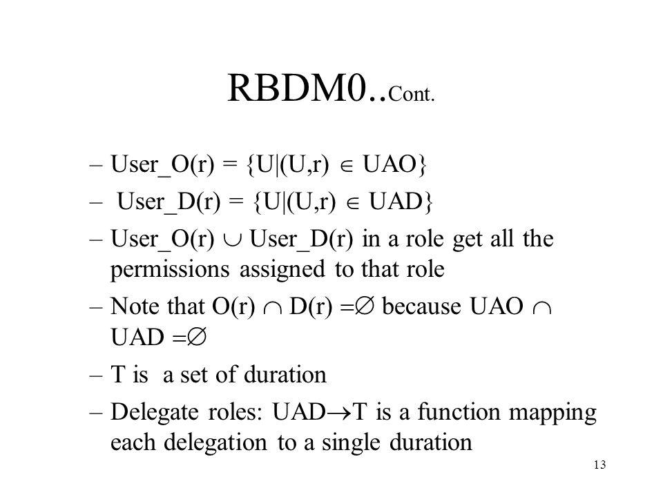 13 RBDM0.. Cont.