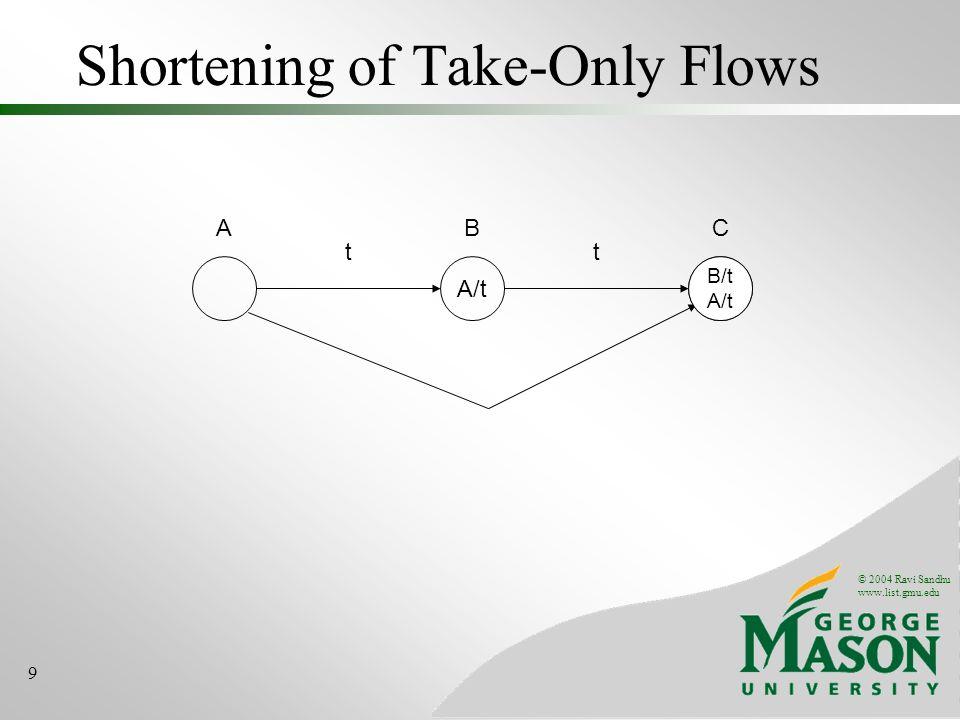 © 2004 Ravi Sandhu www.list.gmu.edu 9 Shortening of Take-Only Flows A A/t B t B/t C t A/t