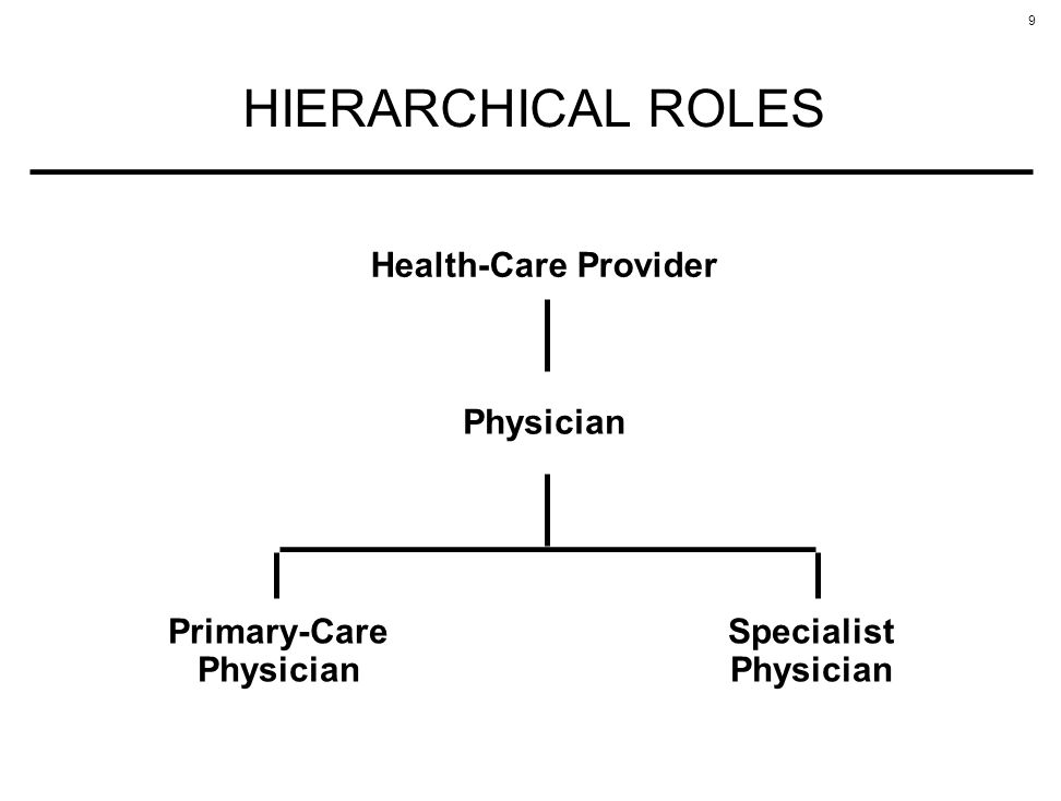 9 HIERARCHICAL ROLES Health-Care Provider Physician Primary-Care Physician Specialist Physician