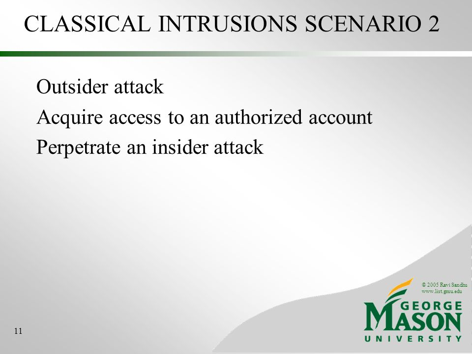 © 2005 Ravi Sandhu www.list.gmu.edu 11 CLASSICAL INTRUSIONS SCENARIO 2 Outsider attack Acquire access to an authorized account Perpetrate an insider a