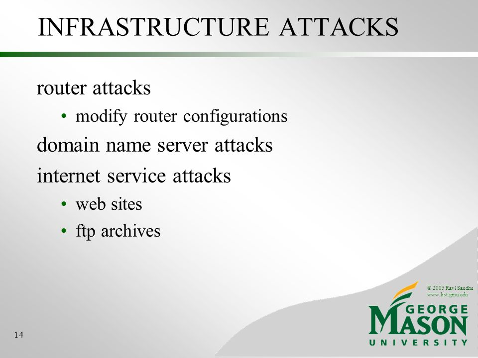 © 2005 Ravi Sandhu   14 INFRASTRUCTURE ATTACKS router attacks modify router configurations domain name server attacks internet service attacks web sites ftp archives