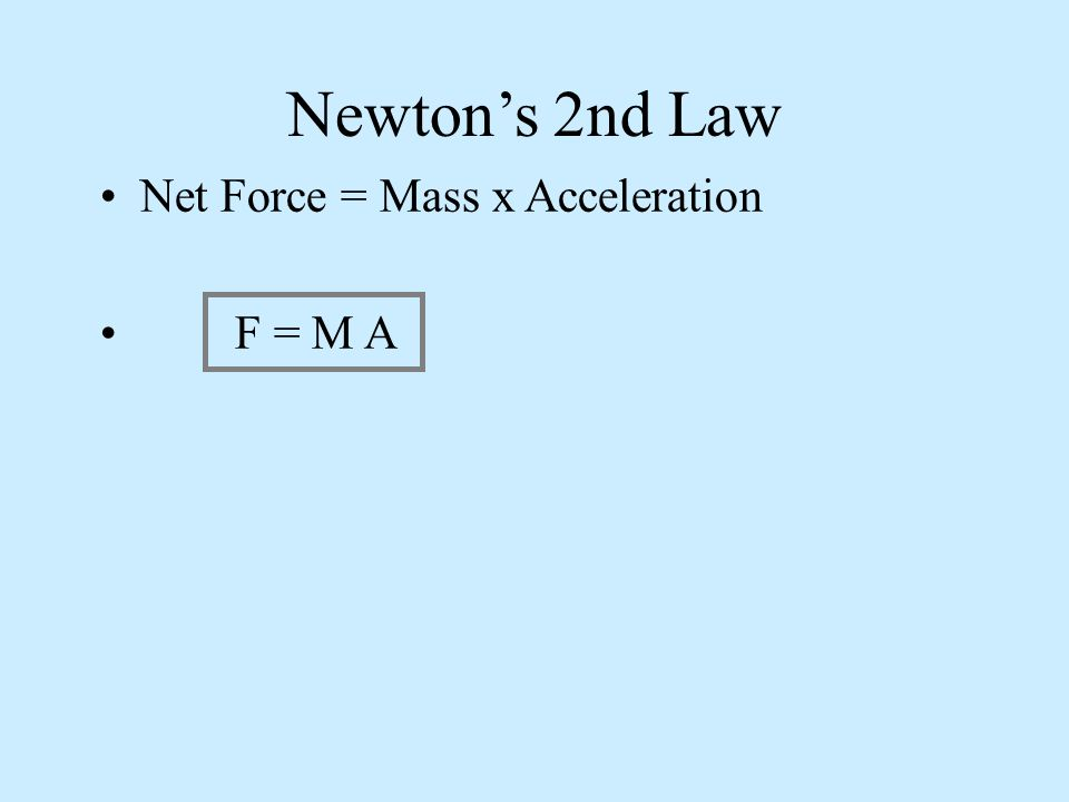 Newtons 2nd Law Net Force = Mass x Acceleration F = M A