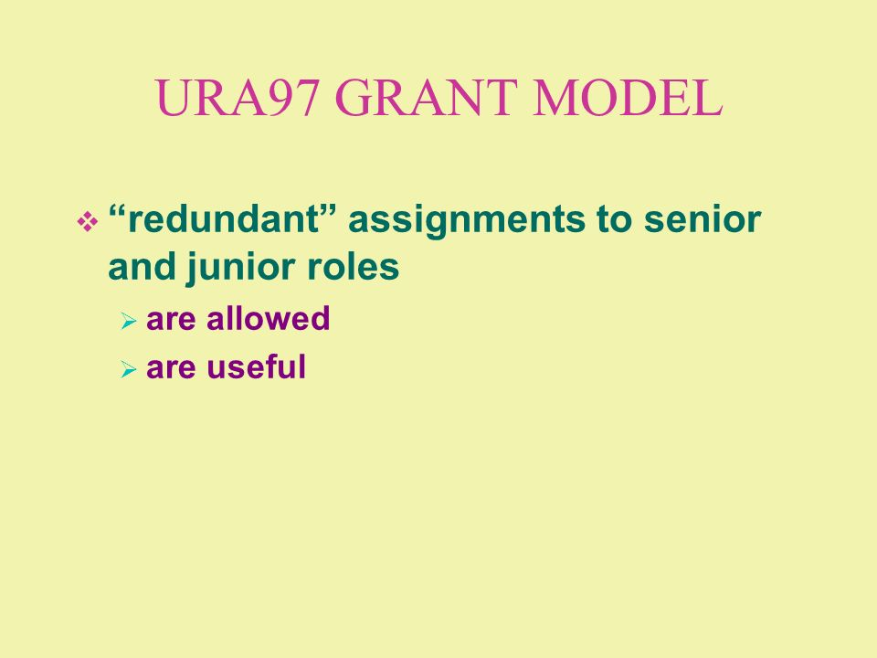 URA97 GRANT MODEL redundant assignments to senior and junior roles are allowed are useful