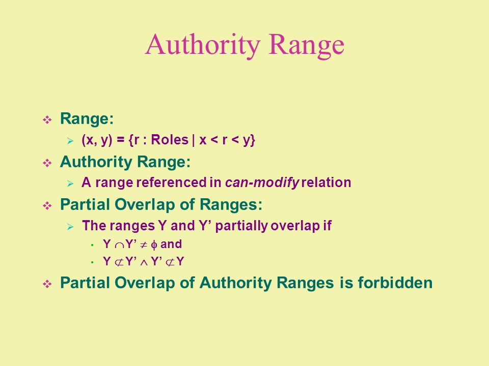 Authority Range Range: (x, y) = {r : Roles | x < r < y} Authority Range: A range referenced in can-modify relation Partial Overlap of Ranges: The rang