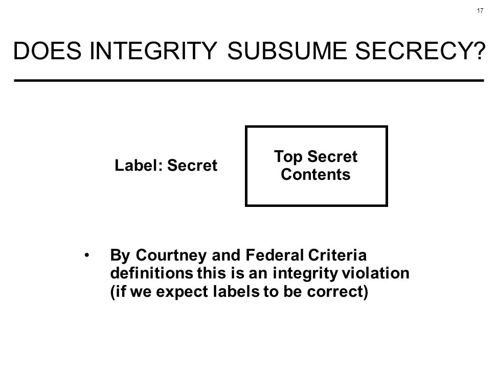 17 DOES INTEGRITY SUBSUME SECRECY? Top Secret Contents Label: Secret By Courtney and Federal Criteria definitions this is an integrity violation (if w