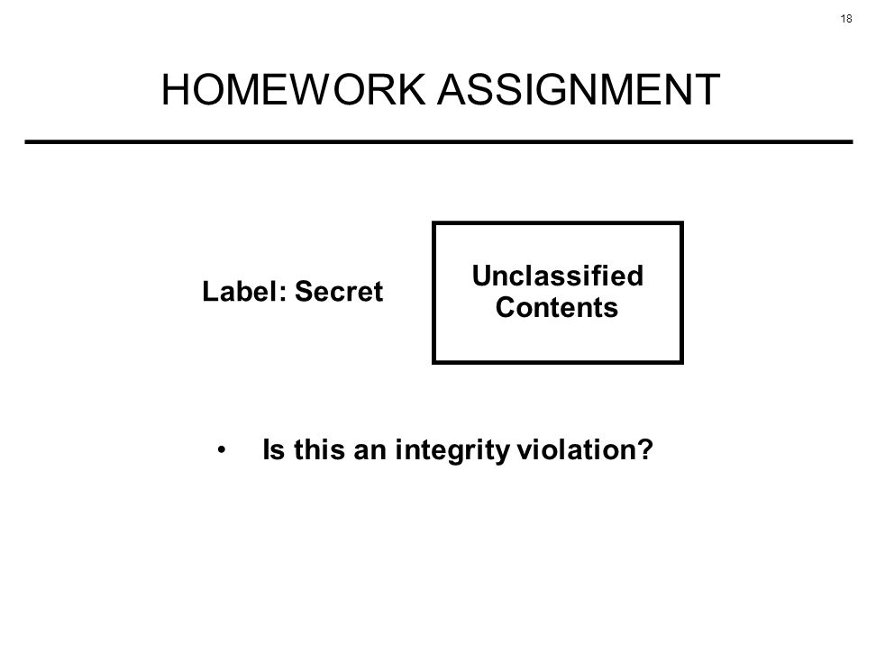18 HOMEWORK ASSIGNMENT Unclassified Contents Label: Secret Is this an integrity violation?